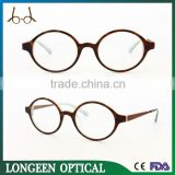 demi round decorative eyeglasses,titanium optical frame