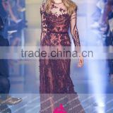 E13 Sexy See Though Crystal Heavy Beaded Dress Burgundy Long Sleeve Evening Dresses Party Dress
