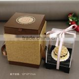 Pure gilding mooncake Gifts with Chinese Lucky Word FU with Acrylic Display Box