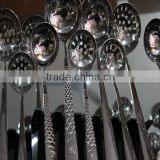 Plastic handle disposable half tong travel stainless steel forks knives and spoons flatware set