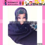 Black Top Sales Crystal Hijab Fashion Arabic Scarfs
