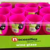 Plastic wine glass Wine cup Wine goblet (Pink-RHODAMINE RED) #TG1008EG