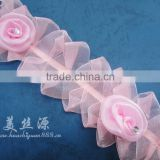 Swiss embroidery flower rose lace applique trim for bridal wedding dress/wedding hair accessories/lace bra/lace wig