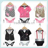 New girls boys baby gentleman Printed leopard bow Necklace short sleeved briefs one-pieces Bodysuits