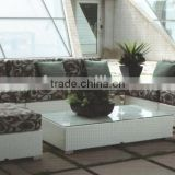 White synthetic wicker furniture patio rattan sofa set all-weather outdoor furniture(LD-HC0001)