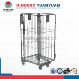 Foldable roll trolley logistics container pallet 4-Sided Nestable A-frame Roll Pallet rolling metal storage cage