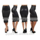 NEW 2015 High Quality Casual High Waisted skirt Autumn Winter Faux Leather Pencil Skirt Black Red Leather skirt Saia M/L