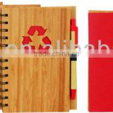 Bamboo wood cover spiral notebook A6 70grams 70sheets recycle paper cutout any shape with recycle paper pen