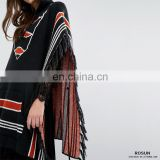 Wholesale Chunky Knit Incantation Patterned Design Pull-on Style Women Hoodie Poncho Sweater