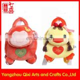 China factory toys kids school backpack plush monkey duck animal backpack