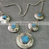 Afghan Three Pendants Gems Necklace