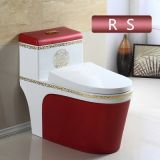 Red color bathroom ceramics luxury one piece china manufacturer with competitive price