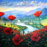 Low Price Good Quality Handmade Blue Sky Popy Field River Vally Landscape Oil Painting on Canvas