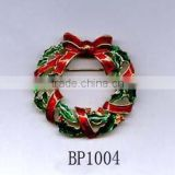 Red Green & Crystal Christmas Wreath brooch