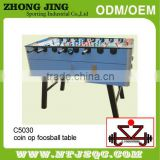 Glass manual coin operated soccer foosball table/WPCS material for outdoor waterproof