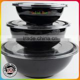 Big Black Plastic PET Salad Bowl With Lid