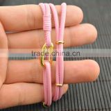 LFD-B0013 ~ New Design Pink Sheepskin High Quality Braided Multilayer Leather Cords Bracelets Charm Women Jewelry