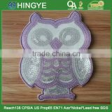 Owl Shape Emboridery Sequin Applique Patch with Mesh Covered and Heat Seal backing For Kids Wear --- S1422