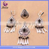 New fashion jewelry set design high quality thai silver black agate ladies jewellery (6308T3)
