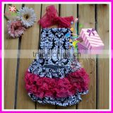 2015 new arrival summer damask ruffle infant bubble romper matching headband baby rompers