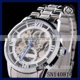 Fashion silver plated men's steel skeleton watches*see through half automatic skeleton watches for men
