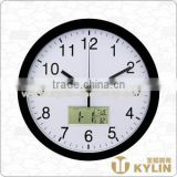 plastic wall clock with thermometer