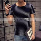 Men Summer Short Sleeve Fashion Fitness Striped Round Neck Sport Men Casual T-shirt Top Tees