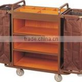 Multi-purpose Hotel Housekeeping Maid Cart Trolley steel and wood cleaning trolley service cart