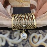 vintage antique brass plating colour metal alloy crystal scarf ring