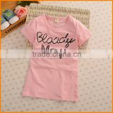 Korean kids 16 summer T-shirt casual short girls fashion Beaded children sweater factory wholesale letter