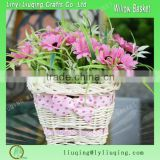 Factory wholesale cheap willow wicker flower pot bulk flower pot basket for plants round wicker basket with liner