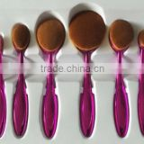 new design-hot sale oval 10pcs toothbrush style makeup brushes set with purple handle for gift