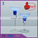 wholesale good quality bell shaped glass candle holder, long stem glass candle holder, smoked glass candle holder
