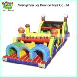 high quality inflatable obstacle course double slide ,new design inflatable obstacle park game