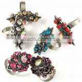 Cute Alloy Rhinestone Crystal Jewelry Finger Rings(RJEW-R041)