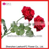 Long Stem Velvet Rose Flower Red Silk Artificial Rose Flower