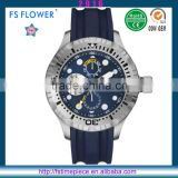 FS FLOWER - Sport Watch Chronograph Silicone Watch Band 10 ATM Waterproof Swim Watch