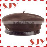 Leather Rim 100% Wool Material Custom Military wool french beret