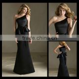 New Arrival One-shoulder Black Satin Ribbons Mermaid bridesmaid dress women ciothing