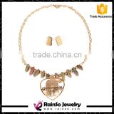 Gold Silver Buddha Pendant Necklace Set with Natural Stones Charms