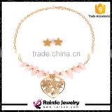 Pink Rose Quartz Stones Gold Chain Heart Pendant Collar Necklace