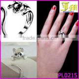 Payment Asia Alibaba China Punk Cute Womens Sizable Silver Plated Kitten Cat Animal Crystal Eyes Ring