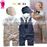 Gentleman baby boy clothes white coat+ striped rompers+hat clothing set newborn wedding suit