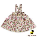 Summer Frock Design Cotton Flower Pattern Printed Baby Girl Suspender Floral School Uniform Rustic Dress