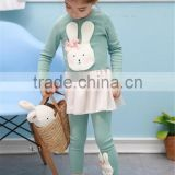 Girls Easter cotton outfit, kids Easter Bunny cloth Set, spring/autumn kids cotton suit joker rabbit skirt &leggings 2pcs suit