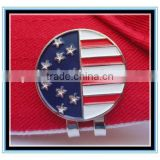 2015 fashion round shape USA flag charm ball magnetic golf ball marker &magnetic hat clip