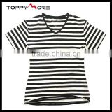 T092-1533B Black and White Striped T Shirt Wholesale China, 95%Cotton Shirts High Quality
