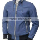 Mens Leather Golf Jacket in Blue