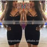 Amigo 2017 new design Black strap XXX bandage dress midi prom dresses for hot body ladies party wear