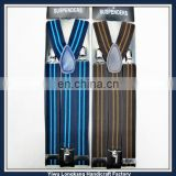 High quality Custom design stripe ribbon elastic suspenders, adjustable clips suspender, men's braces suspender
